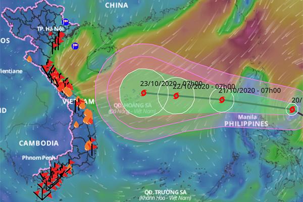 Áp thấp nhiệt đới thành bão, có lúc giật cấp 14 và hướng vào miền Trung