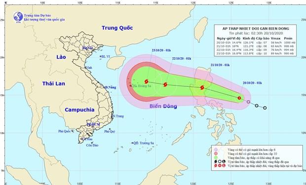 Áp thấp nhiệt đới di chuyển hướng Tây Tây Bắc và có khả năng mạnh thêm