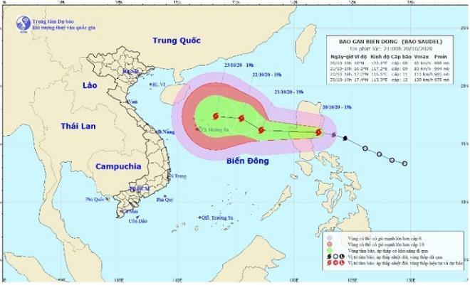 Sáng 21-10, bão Saudel vào Biển Đông, khả năng mạnh thêm