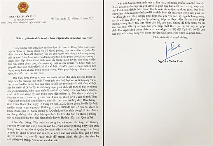 Thư của Thủ tướng Nguyễn Xuân Phúc gửi toàn thể cán bộ, chiến sĩ Quân đội nhân dân Việt Nam