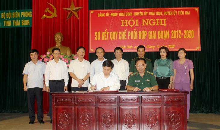 Đảng ủy BĐBP Thái Bình và các huyện ủy sơ kết quy chế phối hợp giai đoạn 2012-2020