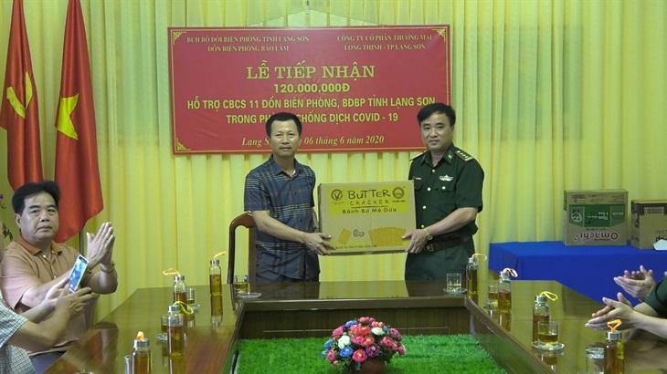 BĐBP Lạng Sơn tiếp nhận vật chất hỗ trợ phòng, chống dịch Covid-19