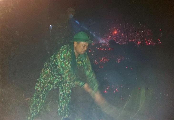 BĐBP Nghệ An cùng các lực lượng cứu rừng trong đêm