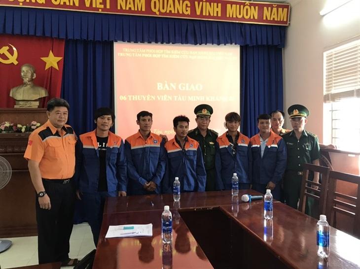 BĐBP Bà Rịa-Vũng Tàu tiếp nhận 6 thuyền viên bị nạn trên biển