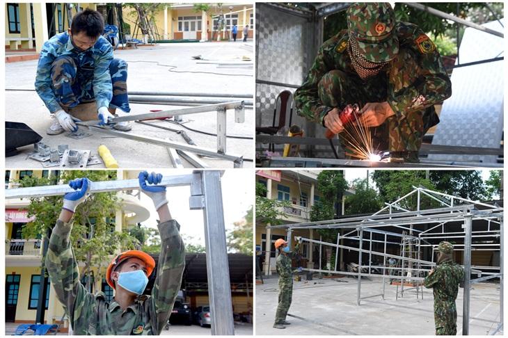 Sản xuất nhà - chốt bán kiên cố cho các tổ, chốt phòng, chống Covid-19 trên biên giới