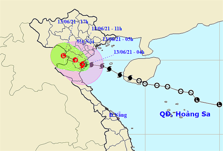 Bão số 2 đổ bộ vào đất liền trên khu vực Thái Bình đến phía Bắc Nghệ An
