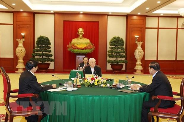 Tổng Bí thư Nguyễn Phú Trọng dự cuộc gặp cấp cao Việt Nam-Campuchia-Lào