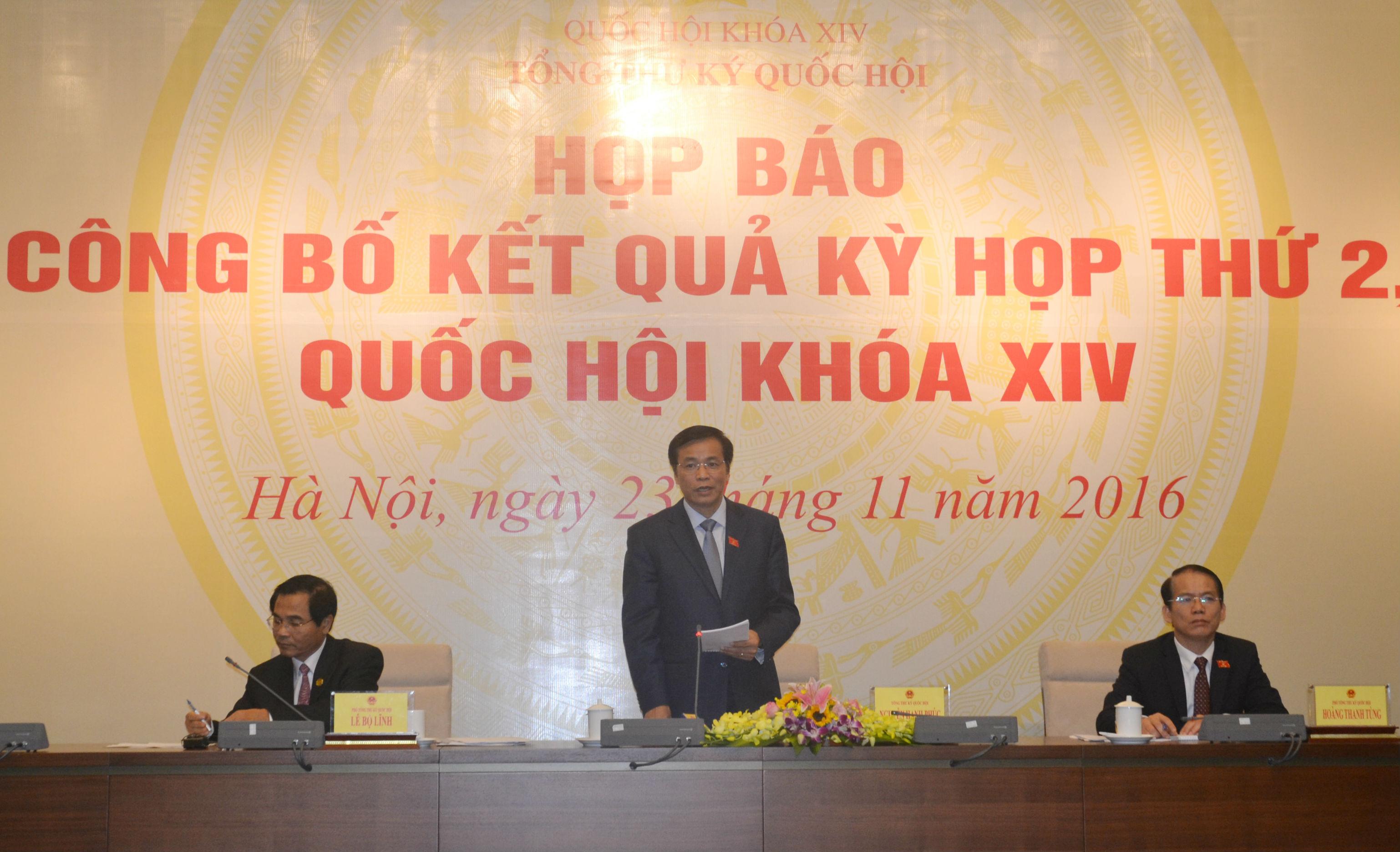 Họp báo thông báo kết quả Kỳ họp thứ 2, Quốc hội khóa XIV